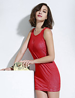 JoanneKitten Women's Sexy Ripple Mesh Backless Bodycon Dress