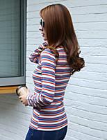 ondertekenen 2016 hitz gestreepte lange mouwen t-shirt vrouwelijke wilde stretch strakke ronde hals overhemd