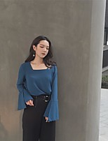 underteckna Hongkong smak var tunn smal retro personlighet kvadratisk hals högtalare ärm långärmad chiffong skjorta blus