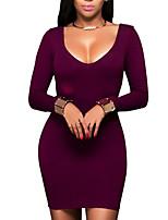 Женский На каждый день Простое Облегающий силуэт Платье Однотонный,Круглый вырез Мини Длинный рукав Красный Полиэстер Весна / ОсеньСо