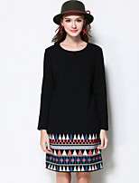 Women's Plus Size / Going out / Casual/Daily Simple / Street chic / Active Shift Dress,Solid / Print Round Neck Above Knee Long Sleeve
