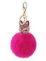 Key Chain Sphere / Cat Key Chain Peach Metal / Plush
