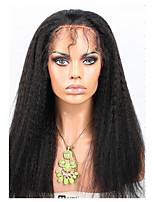 Perruque de cheveux en avant en dentelle brésilienne 120% densité kinky droit avec cheveux de bébé remy 100% cheveux humains