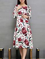 Feminino Solto Vestido,Casual Vintage Estampado Decote Redondo Médio Manga Longa Vermelho Linho Todas as Estações Cintura Média