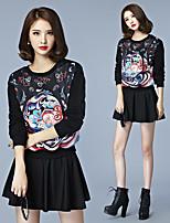 signere 2016 Hitz kvinner løs, uformelle langermet rundt halsen trykt farge mønster genser