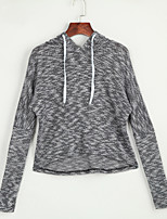 Women's Going out / Casual/Daily Sexy / Simple / Cute Regular Hoodies,Solid Black Hooded Long Sleeve Cotton / Polyester Fall / Winter