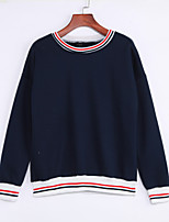 Women's Casual/Daily Simple Regular HoodiesStriped Blue / White / Gray Round Neck Cotton Winter Thick Inelastic
