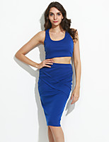 Women's Club Sexy Spring / Summer T-shirt Skirt Suits,Solid U Neck Sleeveless Blue / Red / White / Black / Gray / YellowCotton /