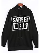 Women's Casual/Daily Simple Regular HoodiesLetter Black / Gray Hooded Long Sleeve Polyester All Seasons