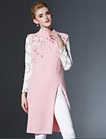 Для женщин На каждый день Винтаж Длинный Пуловер Однотонный,Розовый Вырез под горло Без рукавов Искусственный шёлк Нейлон Осень Средняя