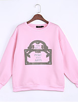Women's Casual/Daily Vintage Regular HoodiesEmbroidered Pink / Gray Round Neck Long Sleeve Polyester All Seasons