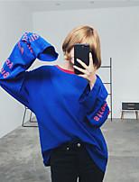 underteckna koreanska netto röd röd blå brev vêtements långärmad t-shirt