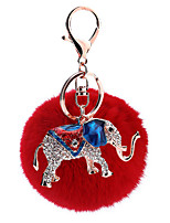Key Chain Sphere / Elephant Key Chain Red Metal / Plush