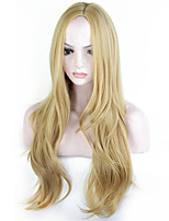 Fashion Blonde Color Long Wave Women Wigs Heat Resisting Cospaly Syntheitc Wigs