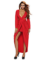 Women's Cut Out Drape Slit Long Sleeve Maxi Dress