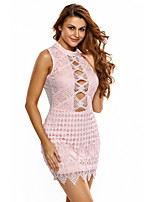 Women's Crochet Cut out Mini Dress