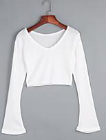 Для женщин На выход На каждый день Праздник Секси Простое Уличный стиль Короткий Пуловер Однотонный,Белый V-образный вырез Длинный рукав