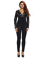 Women's Skinny Jumpsuits,Club Sexy Solid V Neck Long Sleeve High Rise Polyester / Spandex Stretchy Fall