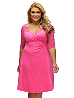 Women's Plus Size Lavish Lace Half Sleeves Dress
