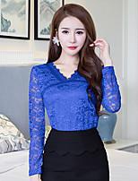 teken 2016 najaar nieuwe kanten blouse vrouwen&# 39; s fashion kant met lange mouwen grote omvang overhemd slank