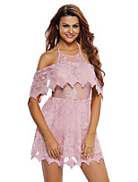 Women's Sexy Bare Shoulder Halter Lace Skater Dress