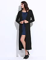 Women's Casual/Daily Sexy Long Cardigan,Solid Black Round Neck Long Sleeve Polyester Winter Medium Micro-elastic