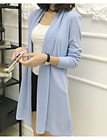 Women's Casual/Daily Simple Short Cardigan,Solid Blue Red Beige Black Silver V Neck Long Sleeve Polyester Summer Thin Micro-elastic