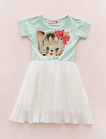Girl's Casual/Daily Floral Dress,Cotton Summer Short Sleeve