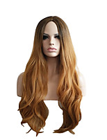 Natural Wigs for Women Long Haircut without Bangs Wave Brown Ombre Capless Wigs