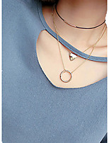 Gold/Silver Geometry Triangle Circle Pendant Layered Chain Choker Necklace for Women