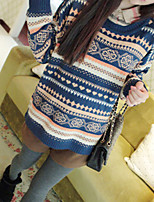 Women's Casual/Daily Simple Regular Pullover,Print Blue Beige Round Neck Long Sleeve Acrylic Fall Medium Micro-elastic