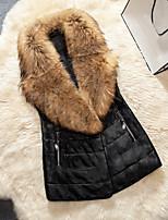 Женский На выход / На каждый день / Нарядная Однотонный Пальто с мехом V-образный вырез,Простое / Уличный стиль Зима Черный Без рукавов,