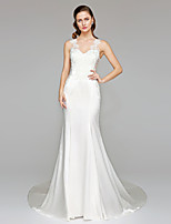 LAN TING BRIDE Trumpet / Mermaid Wedding Dress - See-Through Beautiful Back Chapel Train Straps Stretch Satin with Appliques