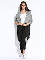 Women's Casual/Daily Street chic Regular CardiganPatchwork Gray Cowl Long Sleeve Polyester Spring / Fall
