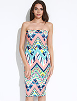 Women's Going out / Party/Cocktail / Club Sexy / Simple Bodycon DressPrint Boat Neck Midi Sleeveless Yellow Polyester
