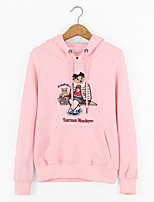 Women's Casual/Daily Simple Regular HoodiesEmbroidered Pink / Gray Hooded Long Sleeve Polyester All Seasons Medium