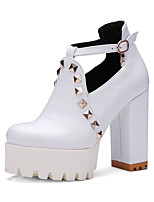 Women's Heels Spring Summer Fall Winter Club Shoes PU Office & Career Dress Casual Chunky Heel Block Heel Rivet White Black