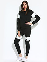 Women's Casual/Daily / Sports Simple / Active Fall / Winter Set PantSolid / Color Block Round Neck Long Sleeve
