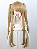 Perruques de Cosplay Cosplay Cosplay Marron Longue Manga Perruques de Cosplay 70 CM Fibre résistante à la chaleur