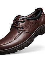 Men's Oxfords Comfort Fall Winter Nappa Leather Casual Party & Evening Coffee Black Under 1in