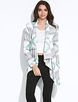 Women's Casual/Daily Street chic Regular CardiganPrint Cowl Long Sleeve Cotton Spring / Fall Medium