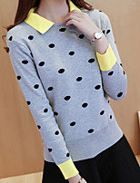 Women's Casual/Daily Cute Regular Pullover,Polka Dot Gray Shirt Collar Long Sleeve Polyester Fall / Winter Medium Micro-elastic