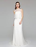 LAN TING BRIDE 시스 / 칼럼 웨딩 드레스 - 시크&모던 시쓰루 아름다운 뒤태 채플 트레인 쥬얼리 쉬폰 와 러플