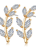 Brincos Curtos Cristal Cristal Zircão Zircônia Cubica Liga Dourado Prata Jóias Para Casamento Festa Diário Casual 1 par