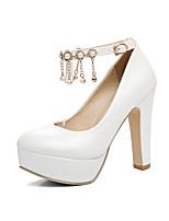Feminino-Saltos-Sapatos clube-Salto Grosso-Branco Vermelho Rosa claro-Couro Ecológico-Escritório & Trabalho Social Festas & Noite