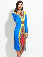 Women's Casual/Daily Vintage Sheath DressPrint Round Neck Midi Long Sleeve Blue Polyester All Seasons Mid Rise