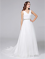 LAN TING BRIDE A-line Wedding Dress - Open Back Court Train V-neck Tulle with Beading Criss-Cross
