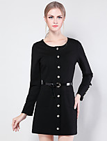JoanneKitten Women's Casual/Daily / Formal / Work Vintage / Simple / Sophisticated Sheath / Little Black / Sweater Dress Solid / Striped Crew Neck