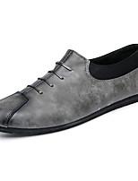 Для мужчин Мокасины и Свитер Удобная обувь Микроволокно Весна Лето Свадьба Для офиса Для вечеринки / ужина На плоской подошвеЧерный Серый