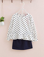 Girls' Casual/Daily Polka Dot Sets,Cotton Spring Fall Long Sleeve Clothing Set